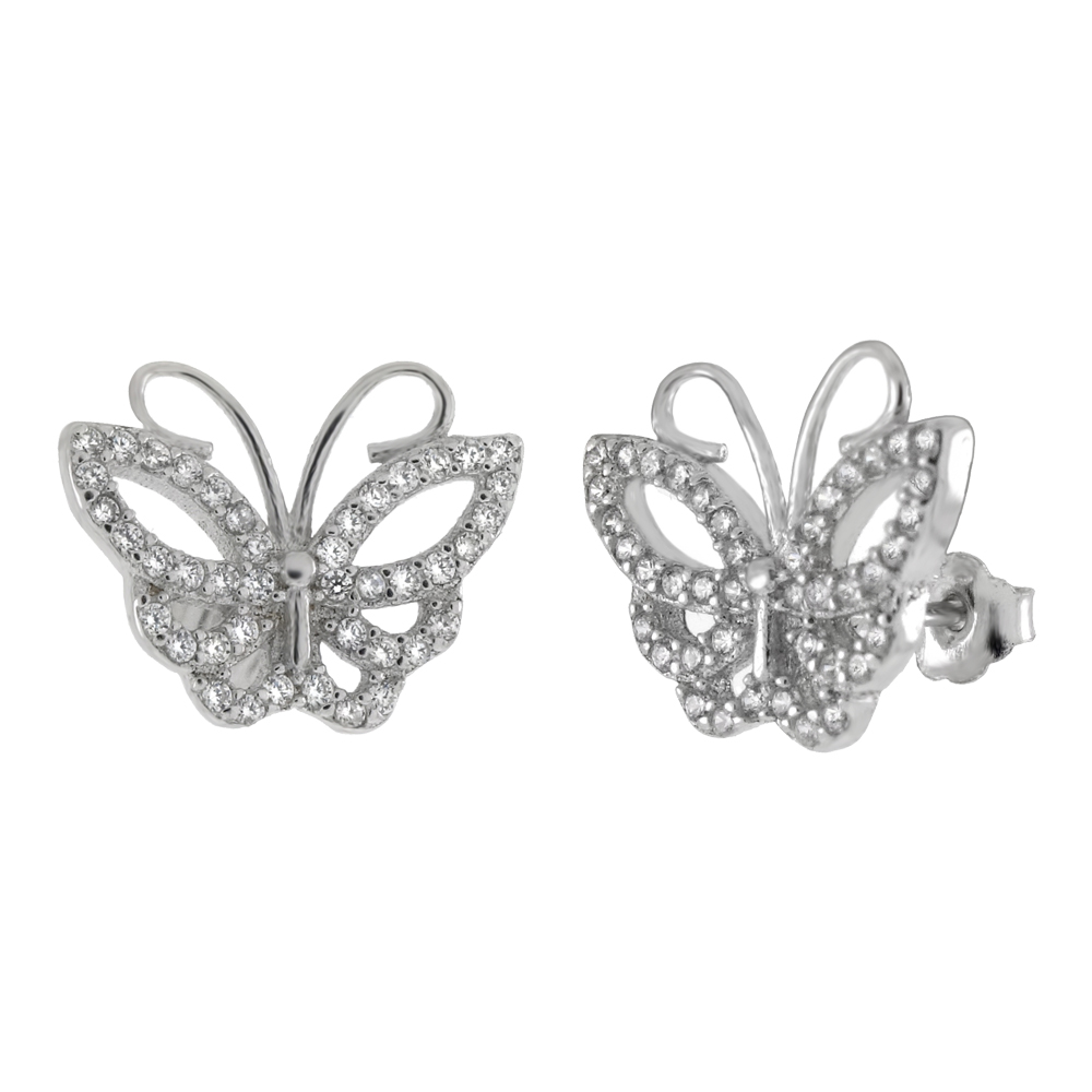 Sterling Silver CZ Butterfly Stud Earrings