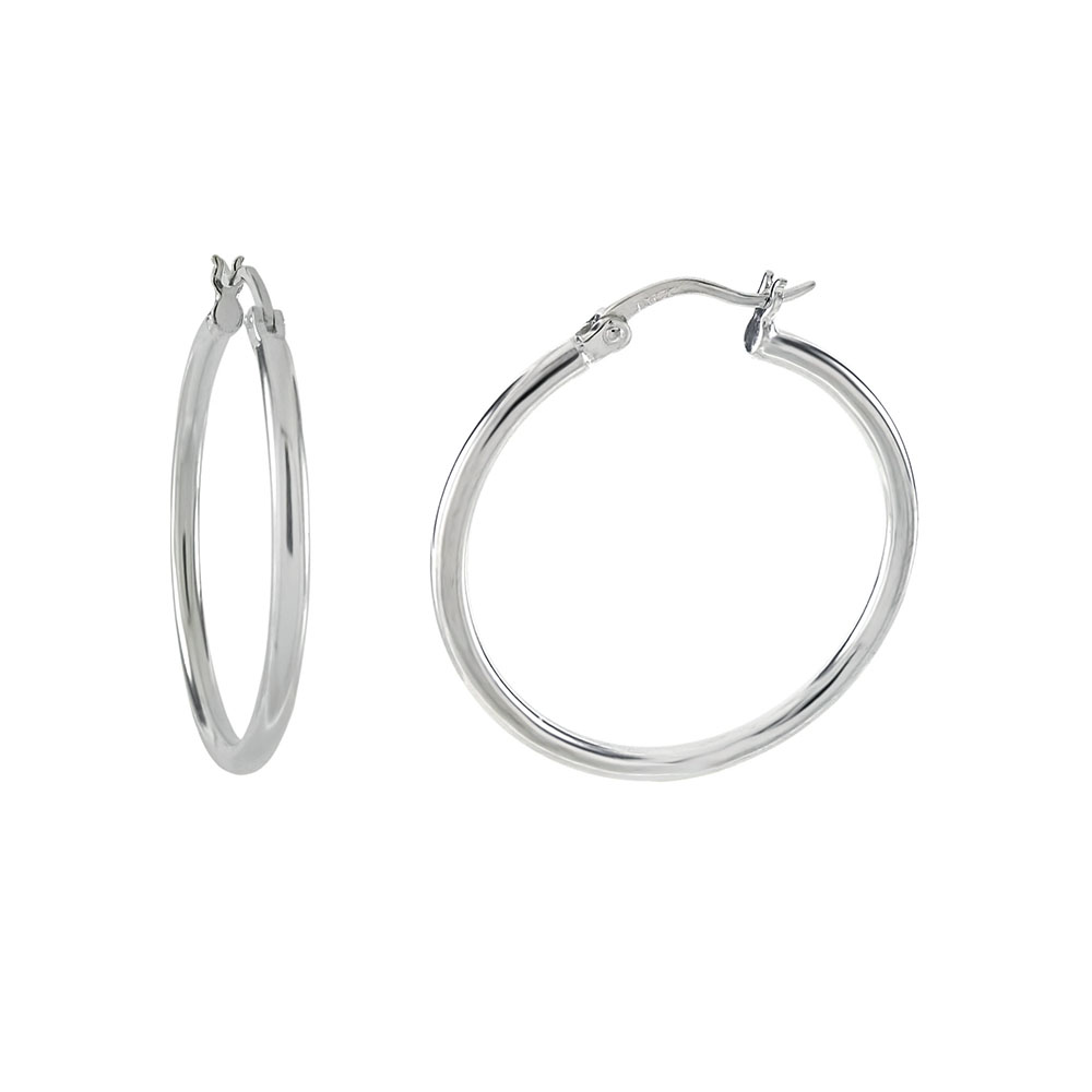 Sterling Silver 2MM  Tube Hoop W. Clutch Earrings