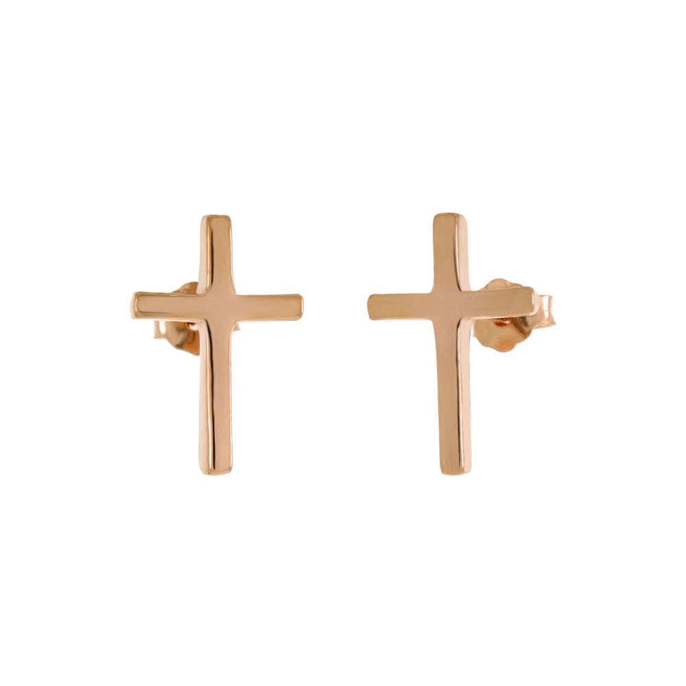 Sterling Silver Cross Rose Gold Plated Stud Earrings