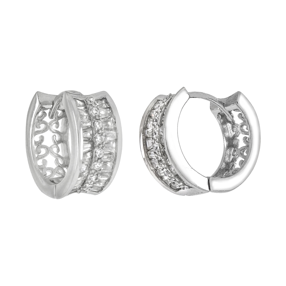 Sterling Silver 2 Lines Trapezoid & Round CZ Huggie Hoop Earrings