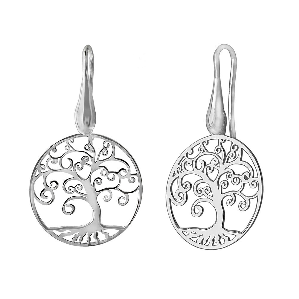 Italian Sterling Silver Laser Cut Tree Of The Life Earrings