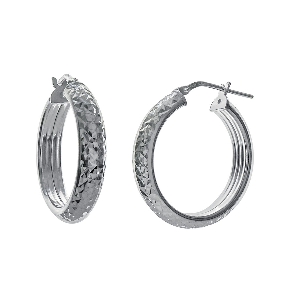 Italian Sterling Silver Half Tube D/C Hoop Earrings