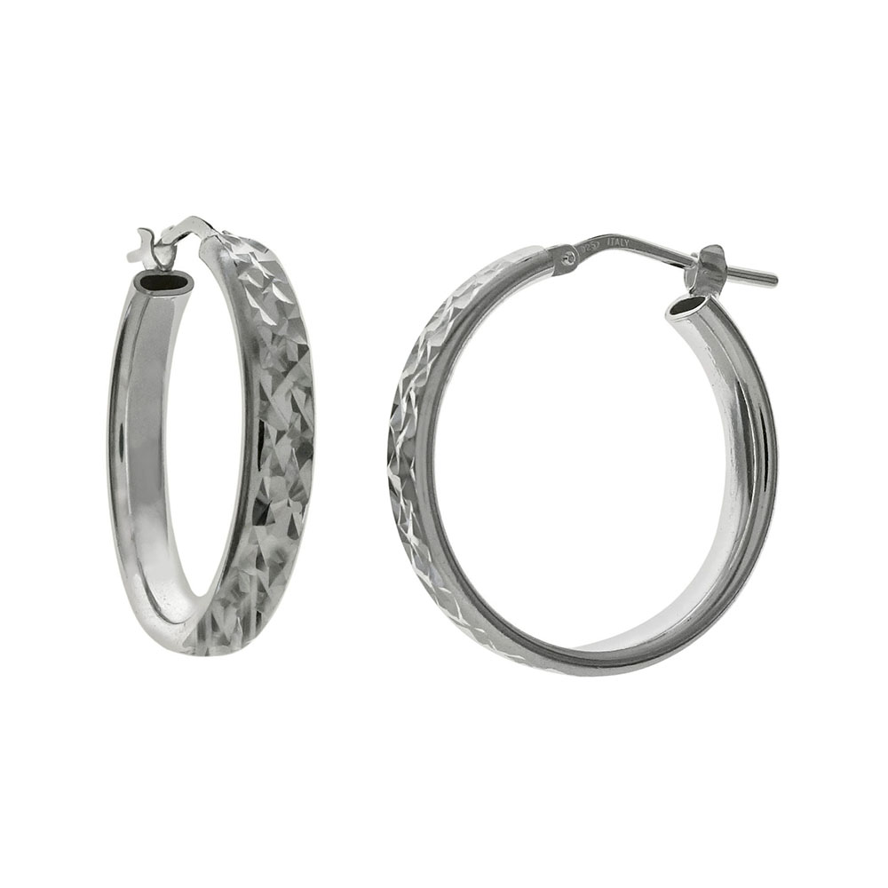 Italian Sterling Silver Oval Tube D/C Hoop Earrings