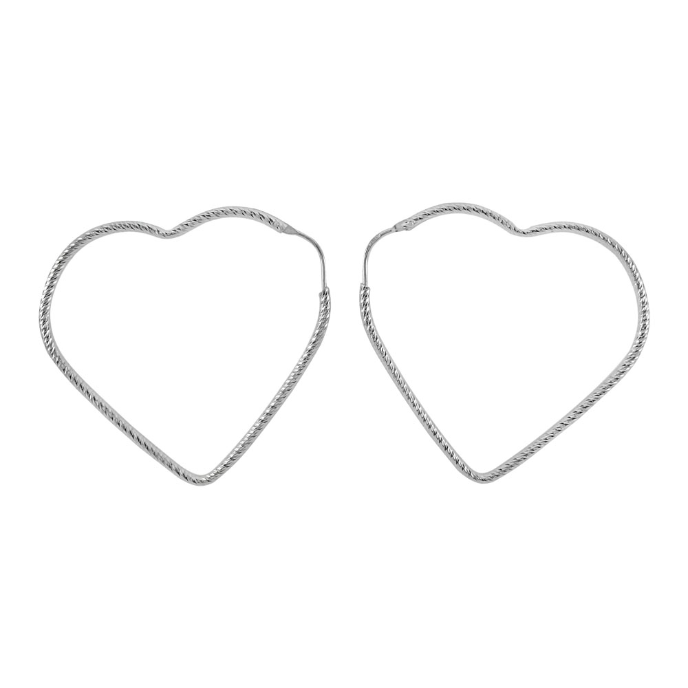 Italian Sterling Silver D/C Tube Heart Shape Hoop Earrings
