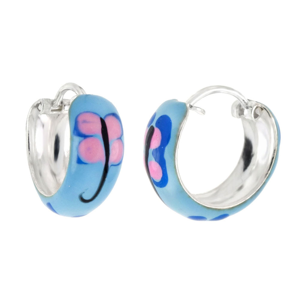 .925 Sterling Silver Enamel Hoop Earrings