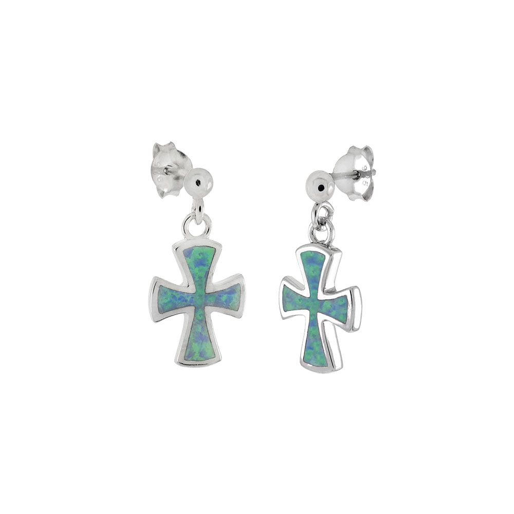 Sterling Silver Simulated Blue Opal Dangle Cross Earrings