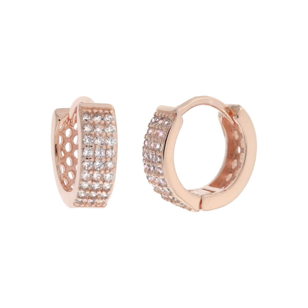 Sterling Silver 3 Lines Pave CZ Huggie Rose Gold Plated Hoop Earrings
