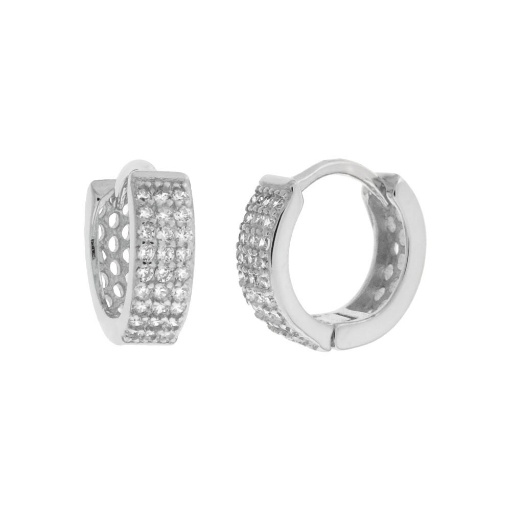 Sterling Silver Pave 3 Lines Cubic Zirconia Huggie Hoop Earrings