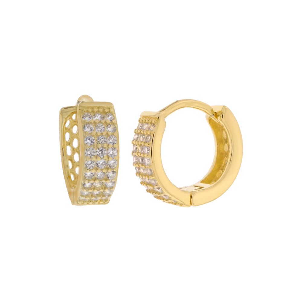 Sterling Silver 3 Lines Pave CZ Gold Plated Huggie Hoop Earrings
