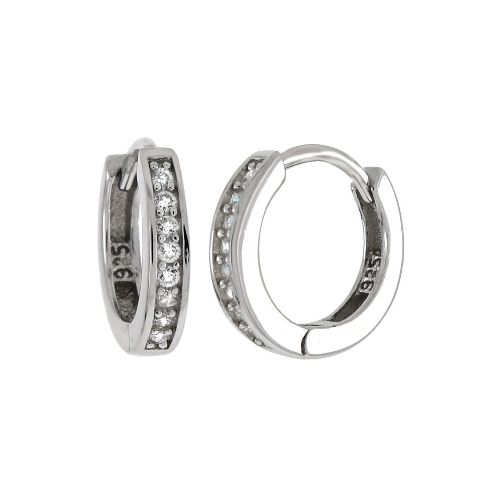 Sterling Silver Cubic Zirconia Huggie Hoop Earrings