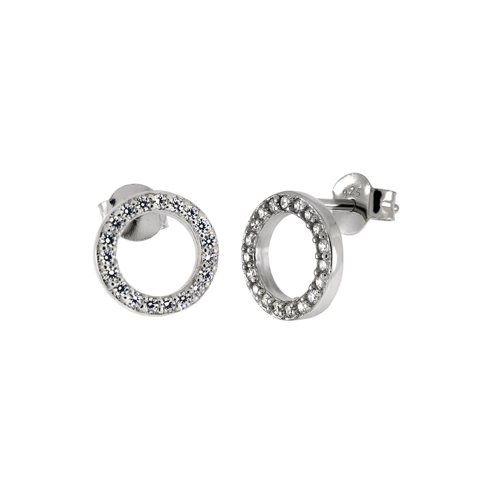 Sterling Silver Cubic Zirconia Circle Stud Earrings