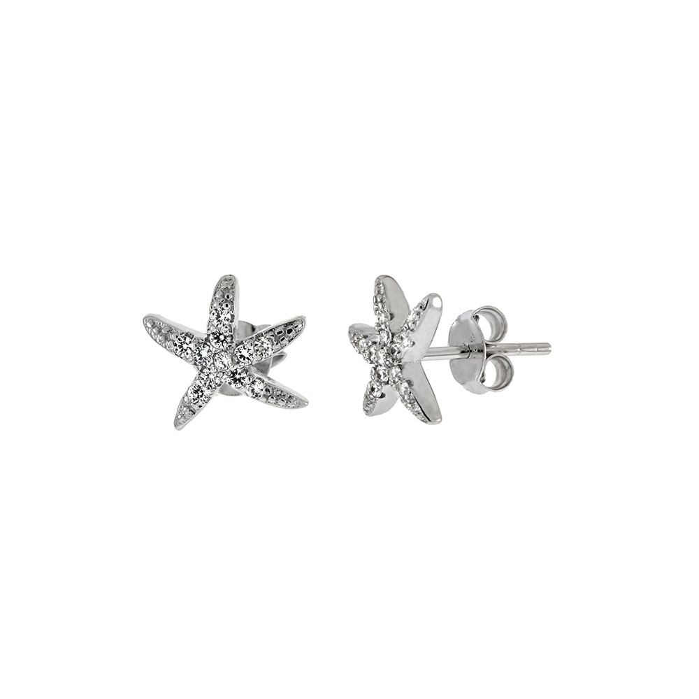 Sterling Silver Cubic Zirconia Starfish Stud Earrings