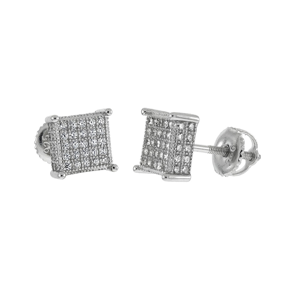 Sterling Silver Micro Pave CZ W. Screw Back Stud Earrings