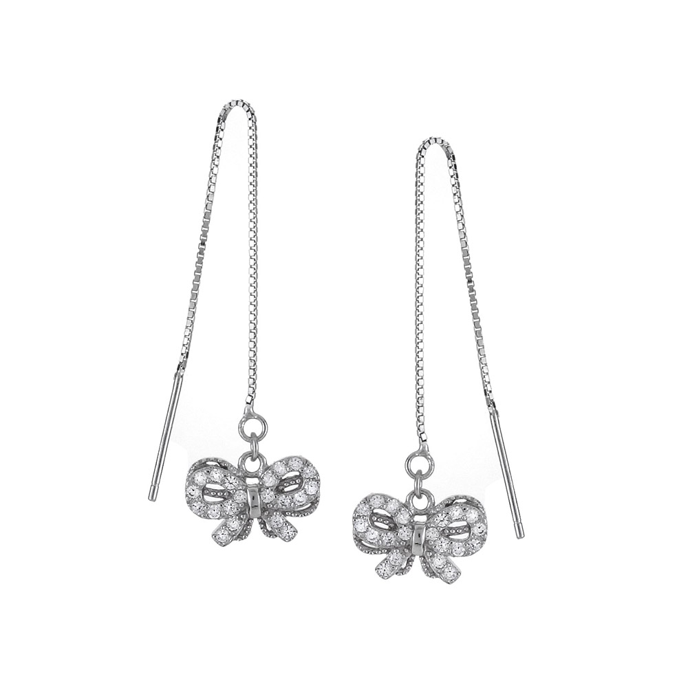 Sterling Silver Ribbon Bow Cubic Zirconia Threader Earrings