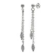 Italian Sterling Silver Oval D/C Bead Dangle Rhodium Earrings
