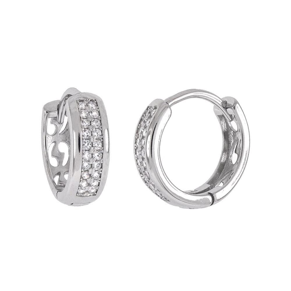 Sterling Silver 2 Lines Pave CZ Huggie Hoop Earrings