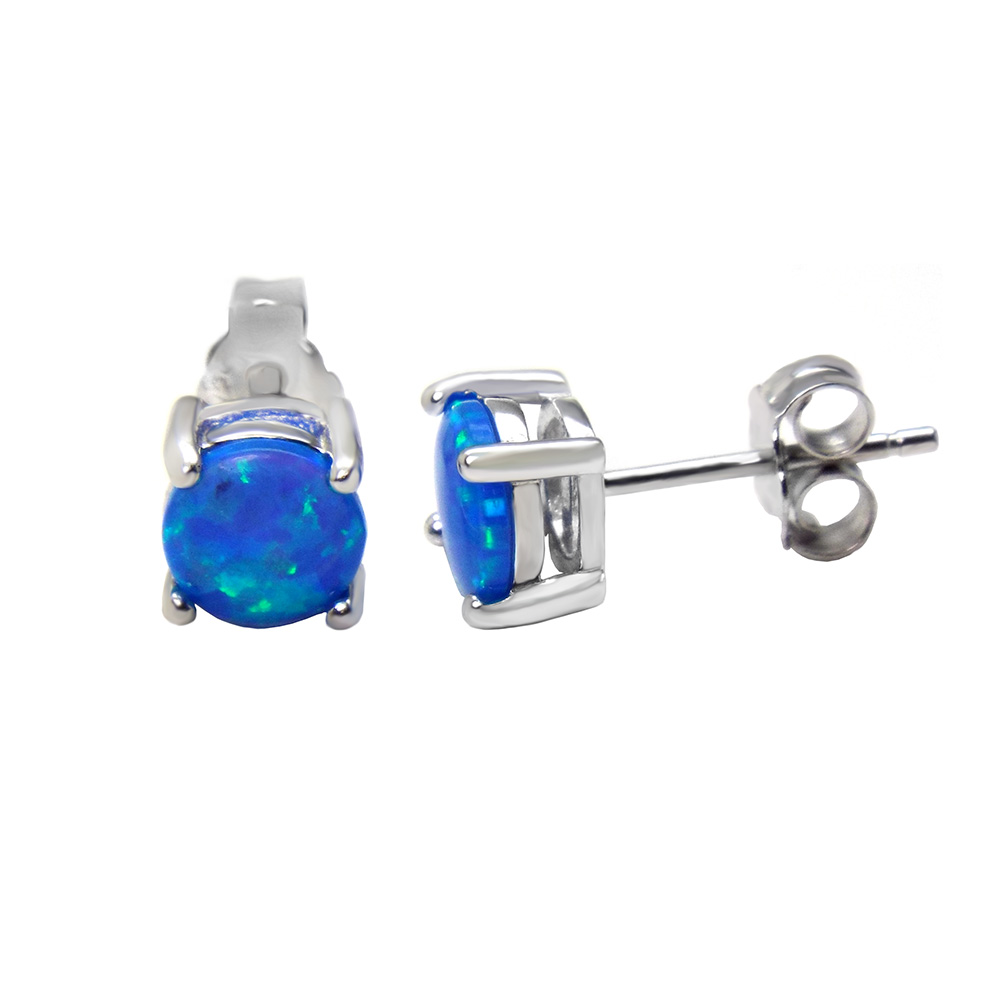 Sterling Silver Lab Blue Opal Rhodium Stud Earrings