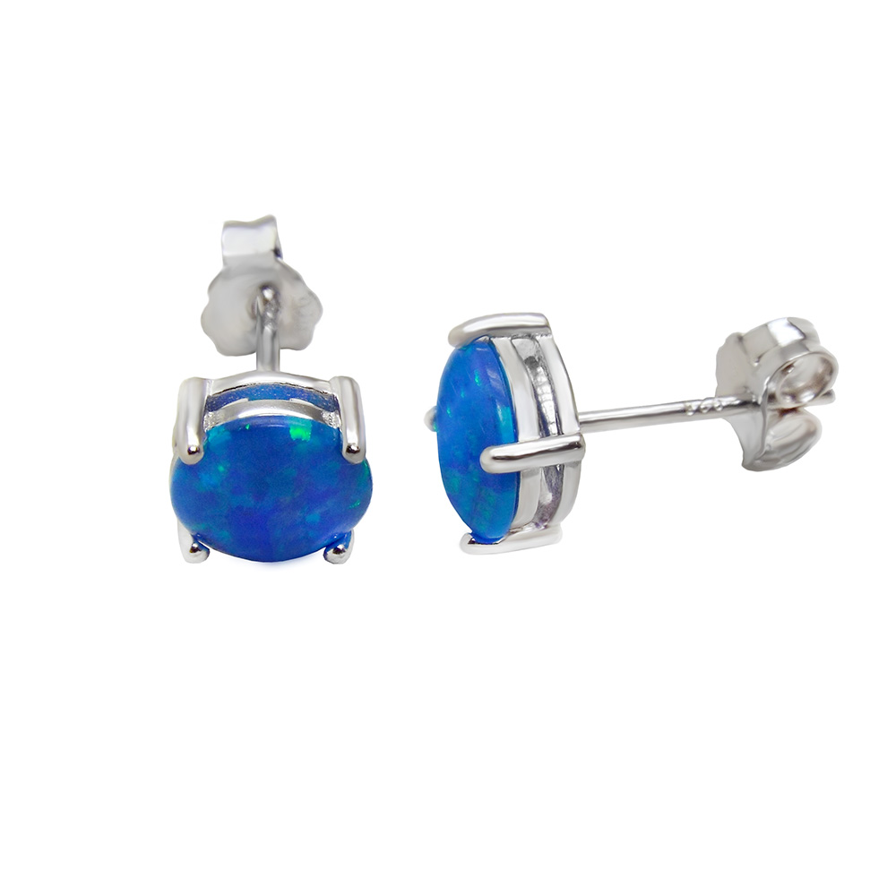 Sterling Silver Lab Blue Opal 7mm Stud Earrings Rhodium