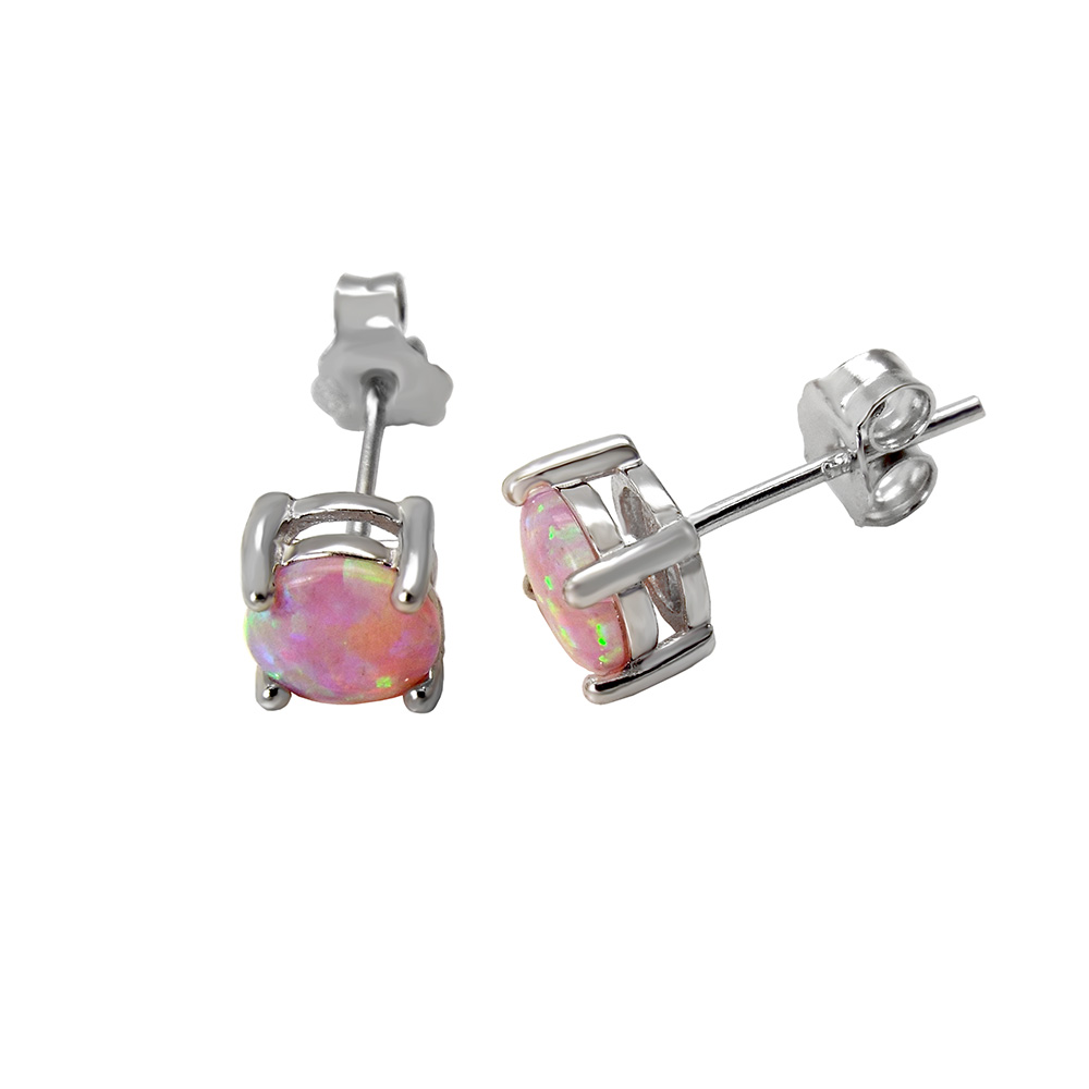 Sterling Silver Lab Pink Opal Rhodium 6mm Stud Earrings