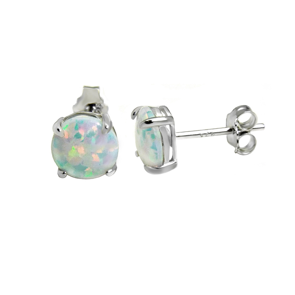 Sterling Silver Lab White Opal Rhodium 7mm Stud Earrings