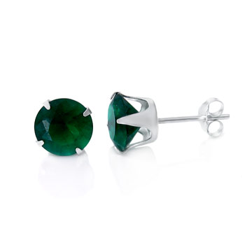 Sterling Silver Round CZ Emerald Stamping Stud Earrings
