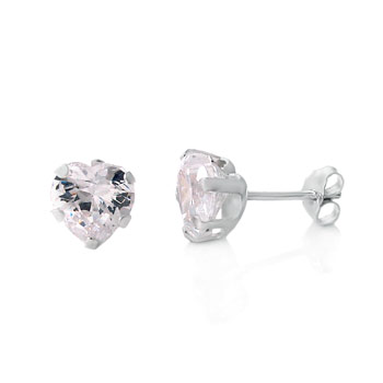 Sterling Silver Cubic Zirconia Heart Stamping Stud Earrings