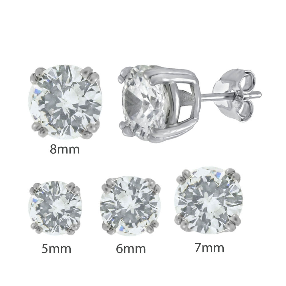 Sterling Silver Round CZ W. 4 Double Prongs Rhodium Stud Earrings