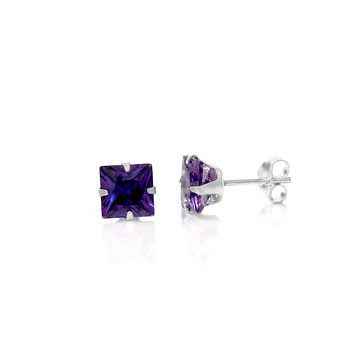 Sterling Silver Square CZ Purple Stud Earrings