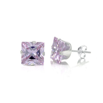 Sterling Silver Square CZ Lavender Stud Earrings