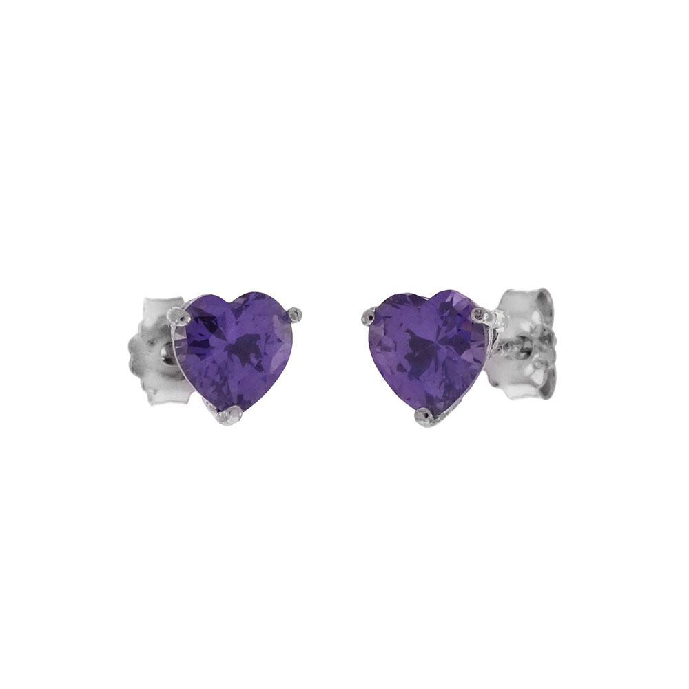 Sterling Silver Heart CZ Amethyst Casting Stud Earrings