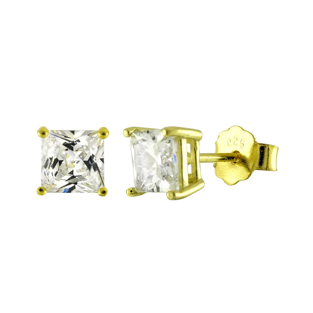 Sterling Silver CZ Princess 14K Gold Plated Casting Stud Earrings