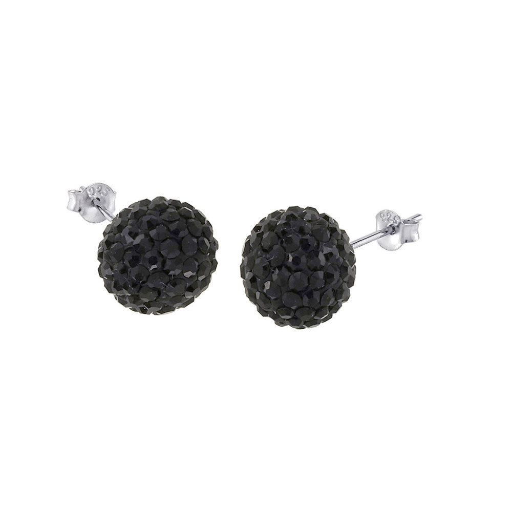 Sterling Silver Black Crystal Ball Stud Earrings