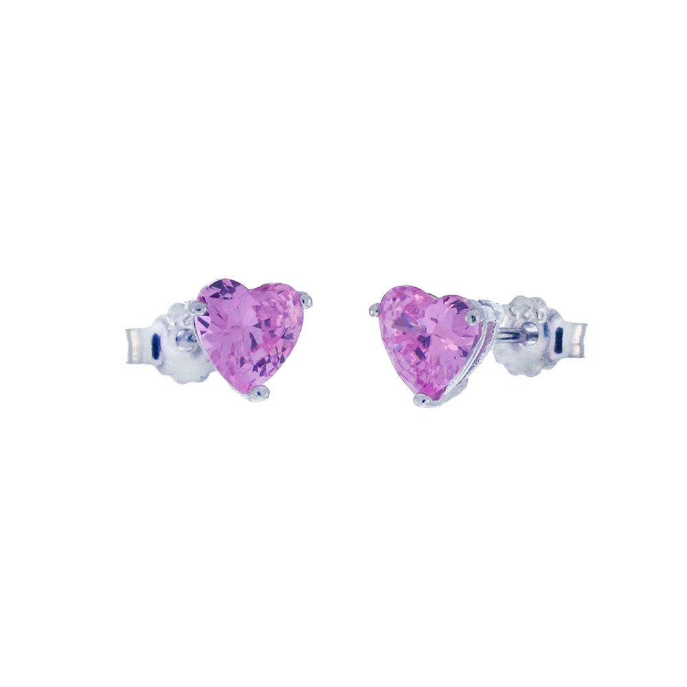 Sterling Silver Heart Pink CZ Casting Stud Earrings