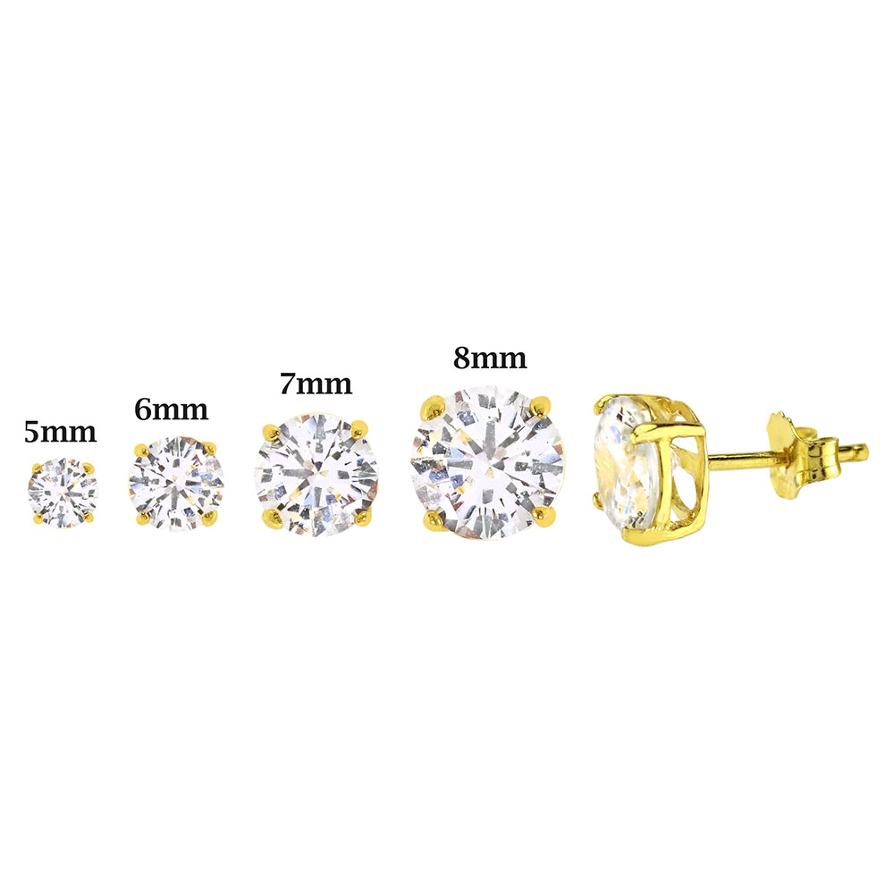 Sterling Silver Round CZ 14K Gold Plated Casting Stud Earrings