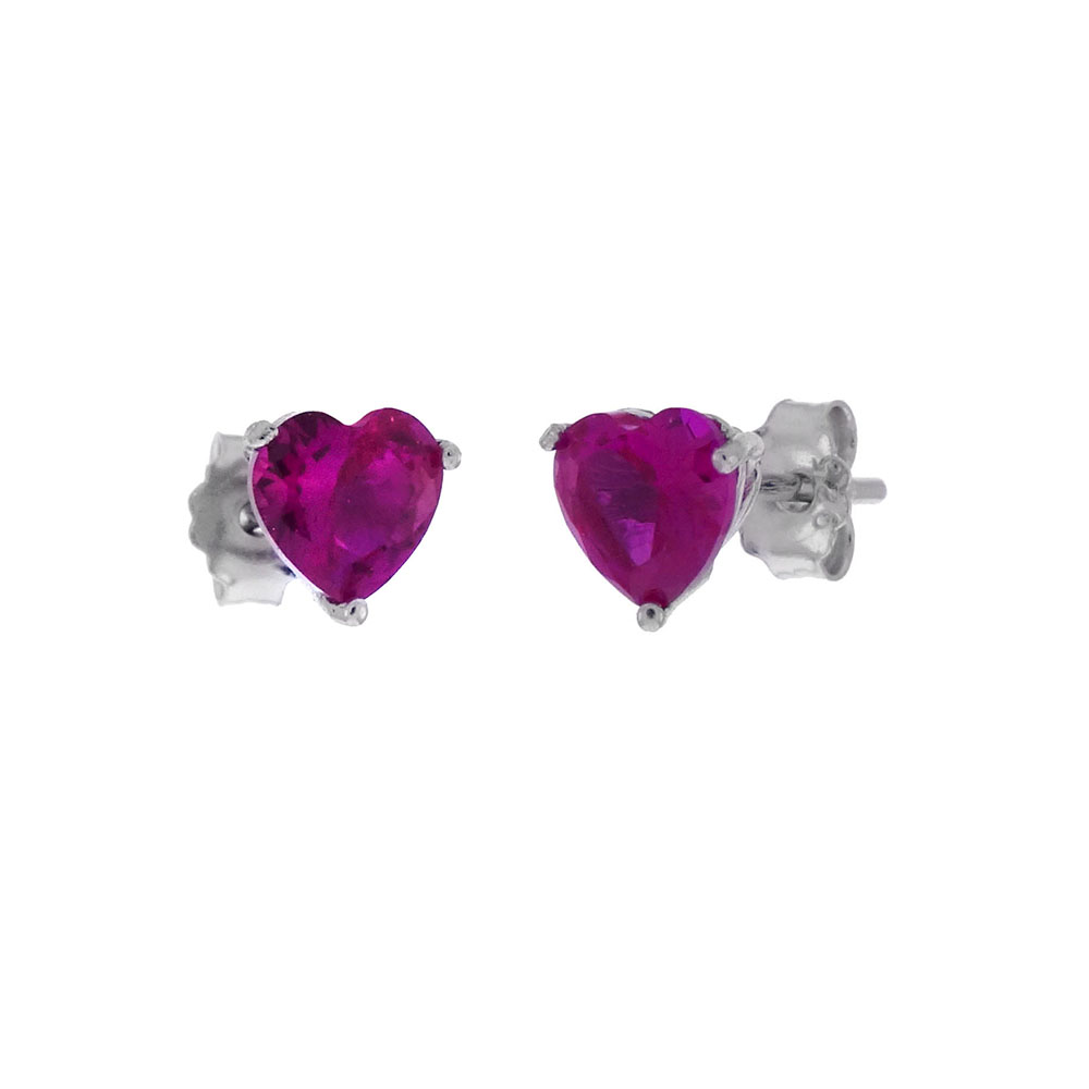 Sterling Silver Red Cubic Zirconia Heart Casting Stud Earrings