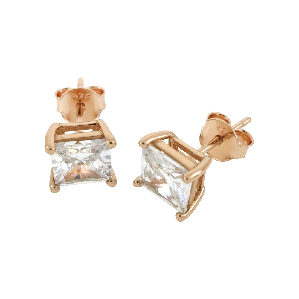 Sterling Silver CZ Princess 14K Rose Gold Plated Casting Stud Earrings