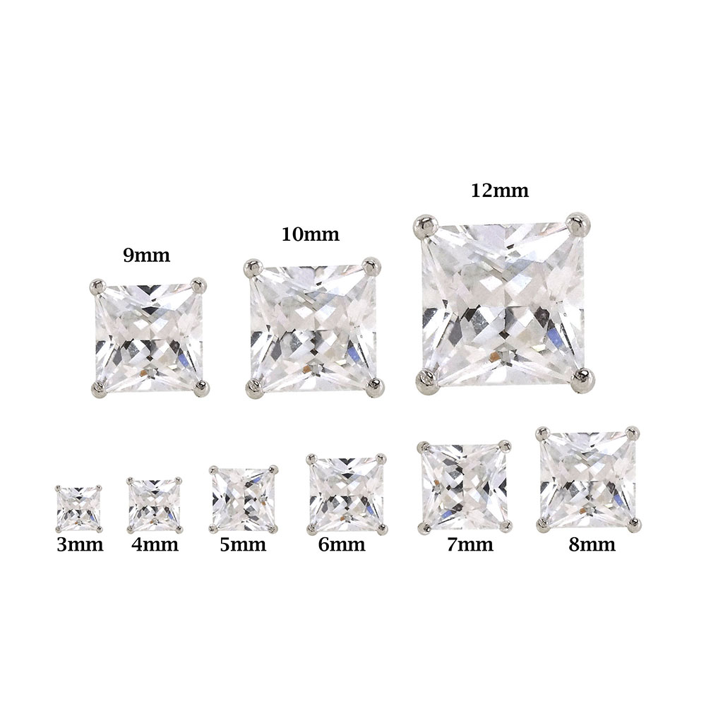 Sterling Silver CZ Princess Casting Stud Earrings