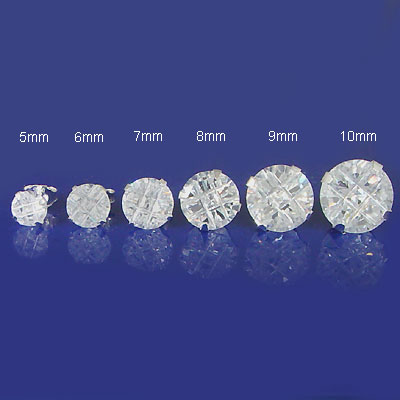 Sterling Silver Round CZ Invisible Stamping Stud Earring