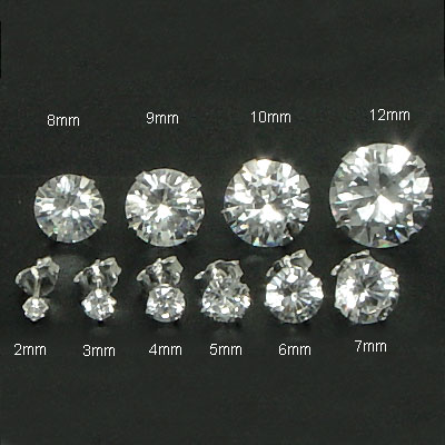 Sterling Silver Round CZ Stamping Stud Earrings
