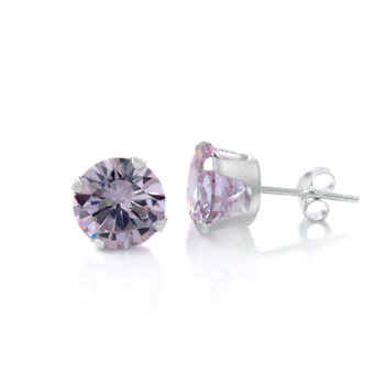 Sterling Silver Round CZ Lavender Stamping Stud Earrings