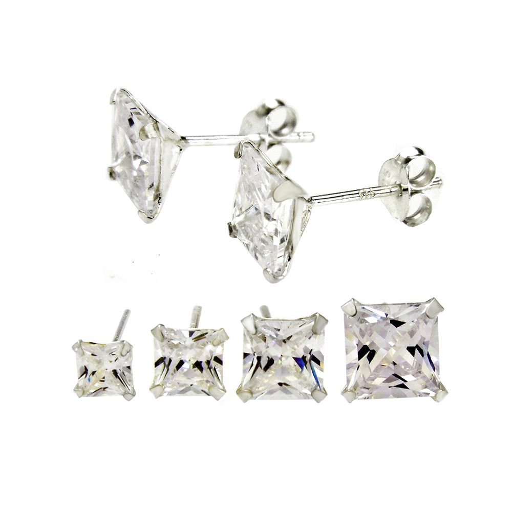 Sterling Silver CZ Princess Snap Stud Earrings