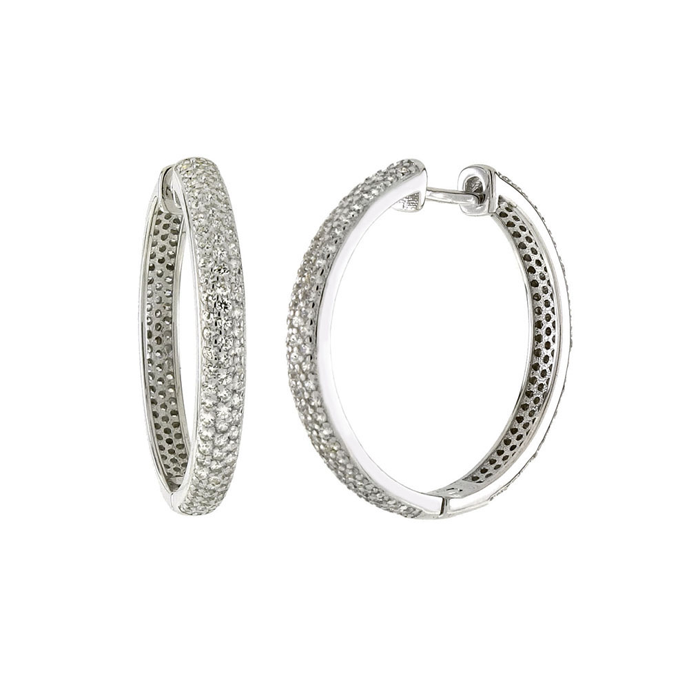 Sterling Silver 3 Lines Micro Pave CZ Huggie Earrings