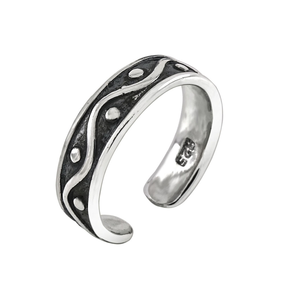 Sterling Silver Oxidized Band Toe Ring
