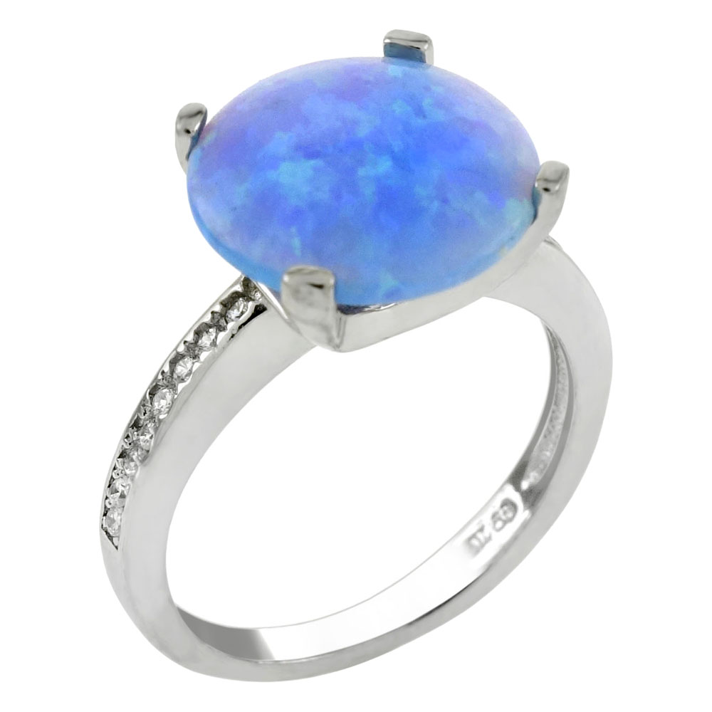 Sterling Silver Cubic Zirconia Ring W. 10mm Simulated Blue Opal