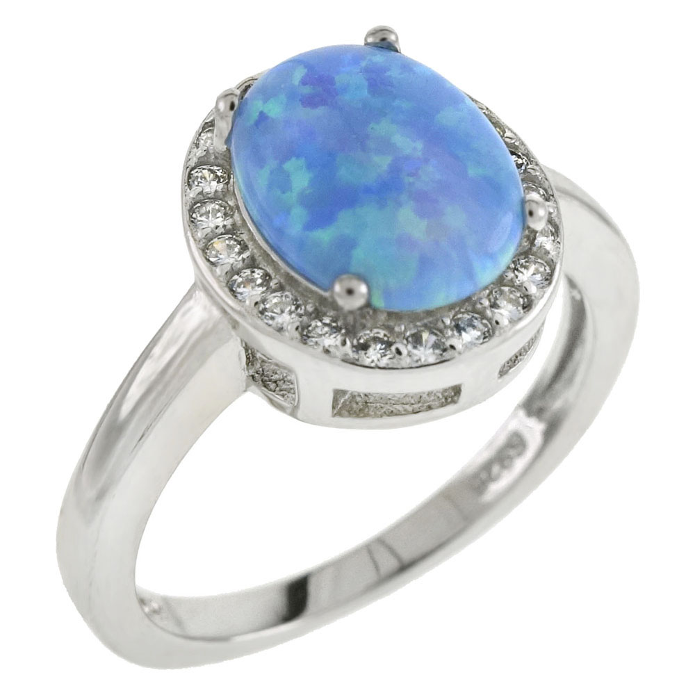 Sterling Silver 7X9mm Simulated Oval Blue Opal W. CZ Ring