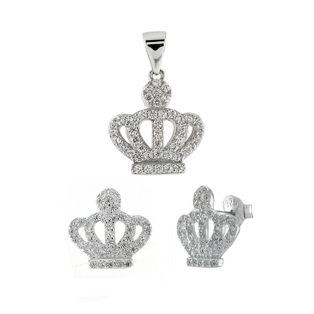 Sterling Silver CZ Crown Earrings & Pendant Set