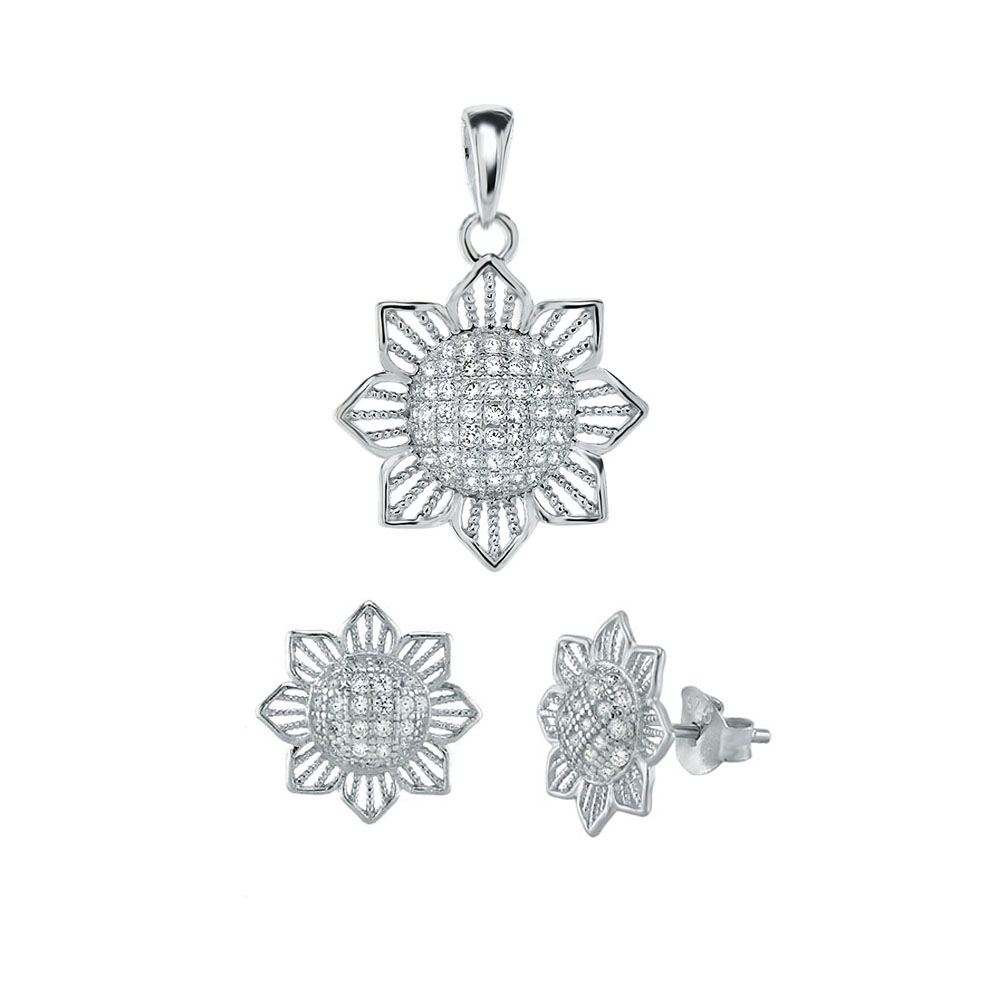 Sterling Silver Micro Pave CZ Sun Flower Earrings & Pendant Set