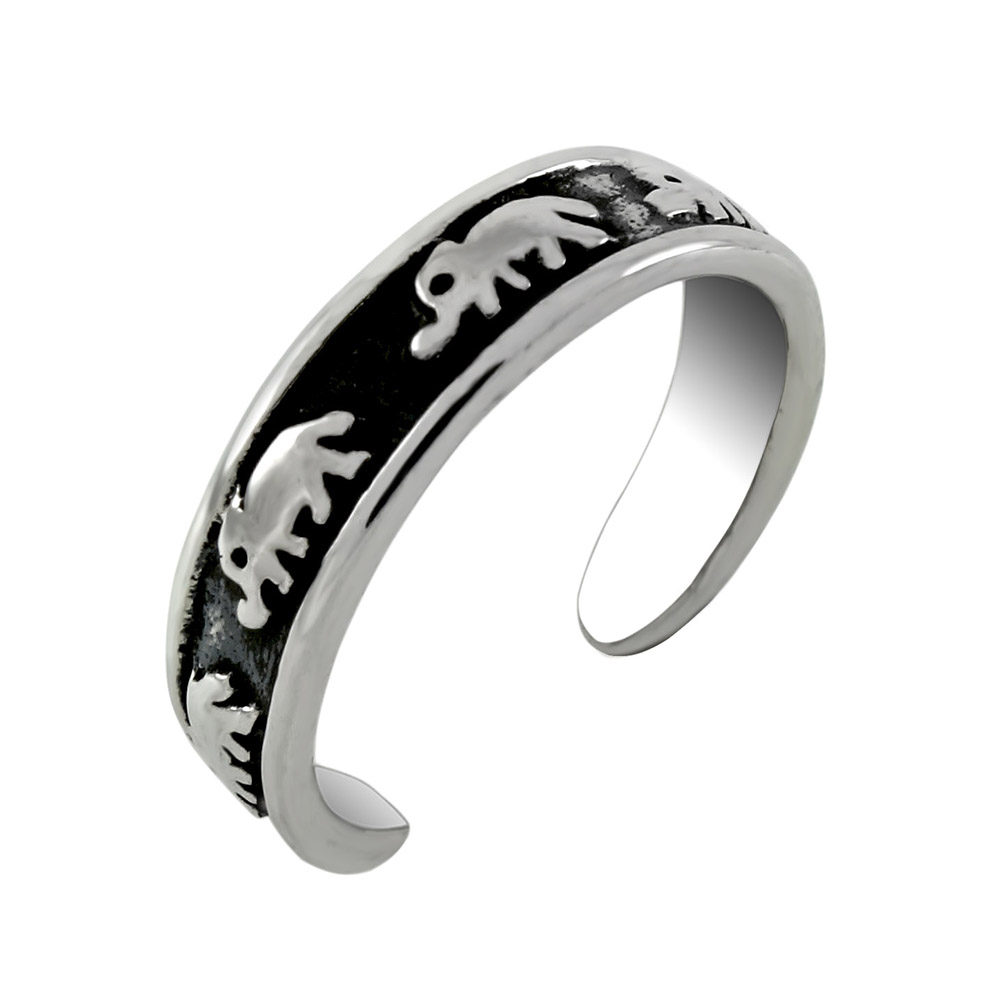 Sterling Silver Elephant Oxidized Band Toe Ring