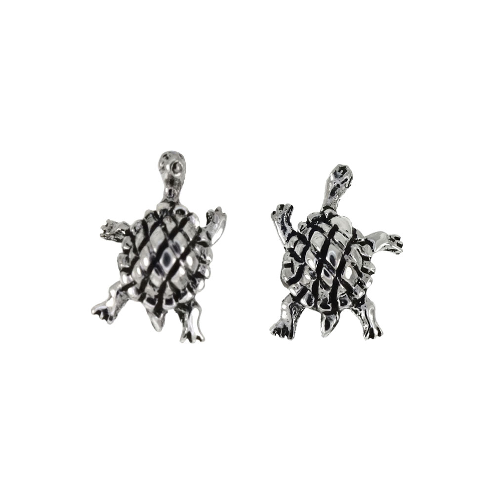 Sterling Silver Turtle Oxidized Stud Earrings