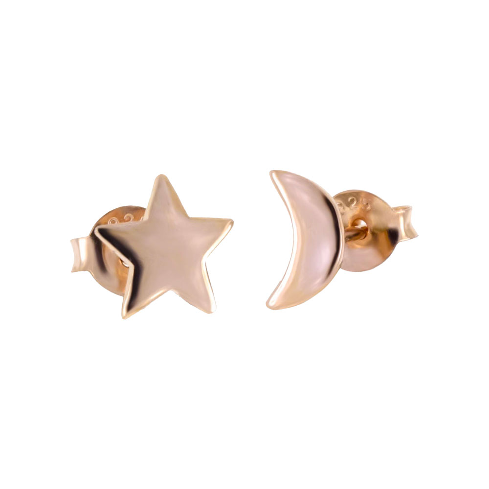 Sterling Silver Moon & Star Rose Gold Plated Stud Earrings